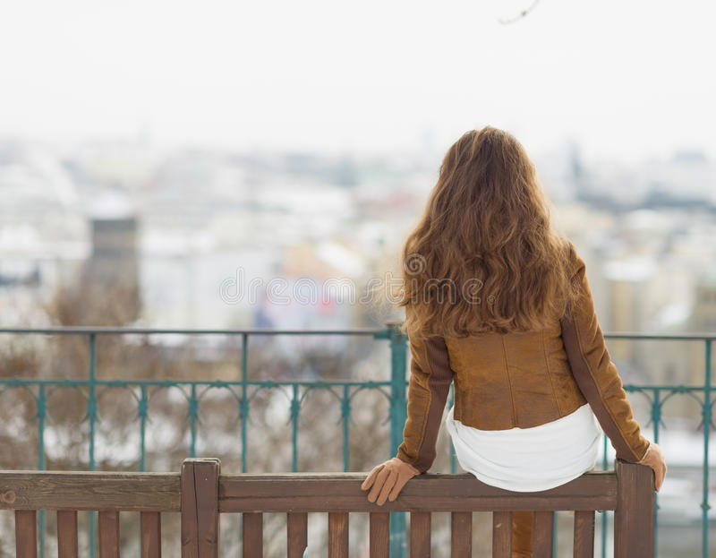 Young woman sitting on bench in winter outdoors. Rear view stock photography