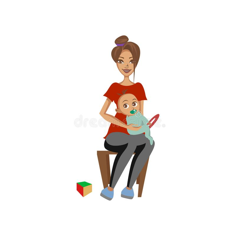 Young woman sitting on chair with toddler baby on her knees mother caring for her child colorful cartoon vector. Illustration on a white background vector illustration