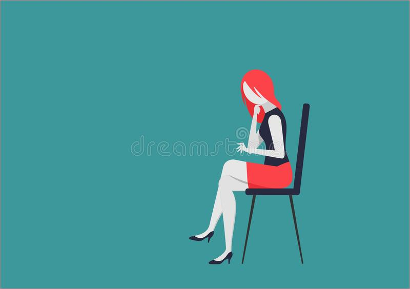 Young woman sitting on the chair and works stock illustration
