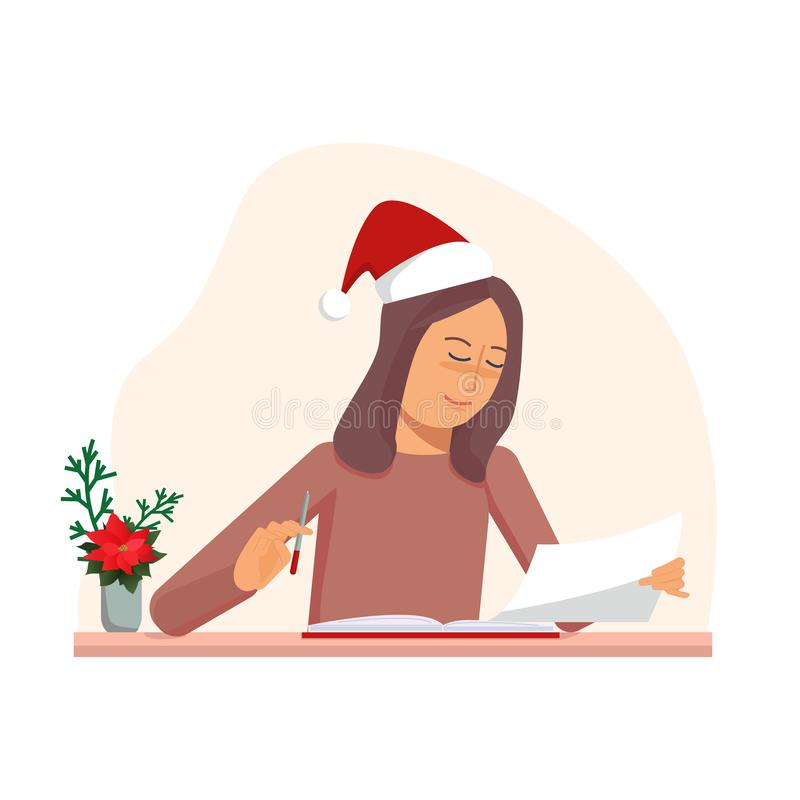 Young woman sitting in christmas cap on the table and reading book and document. Vector flat illustration vector illustration
