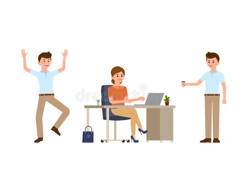 Young woman sitting at the desk, using laptop. Young man holding coffee, happily laughing. Cartoon character casual look. Young woman sitting at the desk, using vector illustration