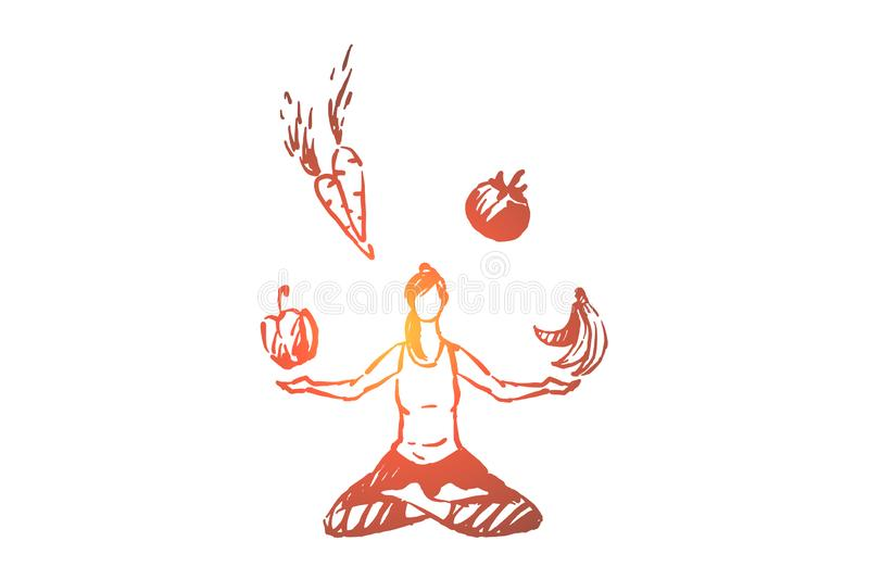 Young woman sitting in lotus pose, meditation and fitness, organic fruits and vegetables, healthy lifestyle stock illustration