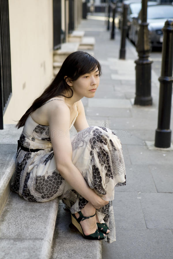 Download Young Woman Sitting At Old Door Stock Image - Image: 10424365