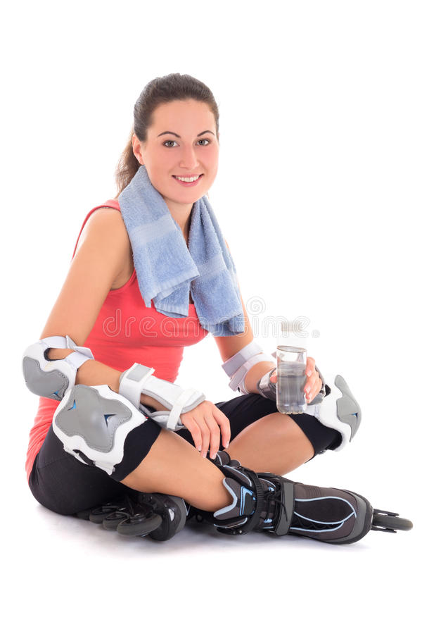 Download Young Woman Sitting With Rollers On Legs And Bottle Of Water Stock Image - Image of pretty, equipment: 33569399