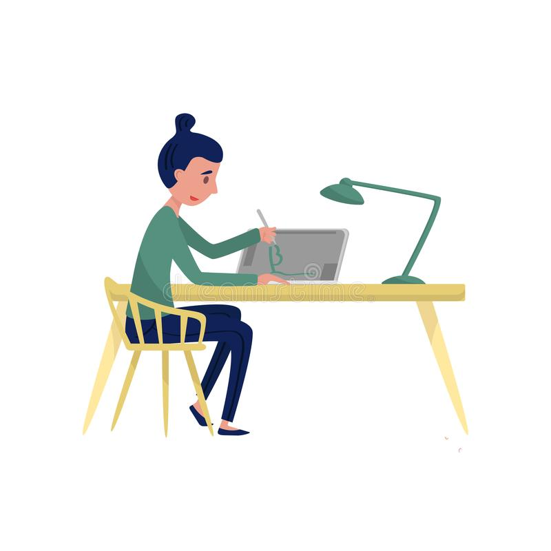 Young woman sitting at table and drawing on graphic tablet. Freelancer at workplace. Professional graphic designer. Flat vector illustration