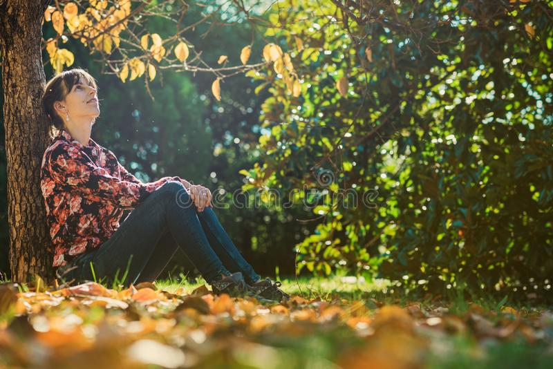 Young woman sitting under an autumn tree royalty free stock photos