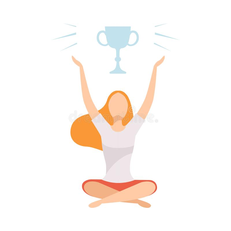 Free Young Woman Sitting With Crossed Legs And Dreaming Of Victory, Girl With Golden Winner Cup Over Her Head Vector Royalty Free Stock Images - 152298549