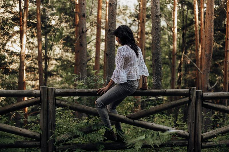 Young woman sitting on a wooden fence in the forest among pine trees royalty free stock photo