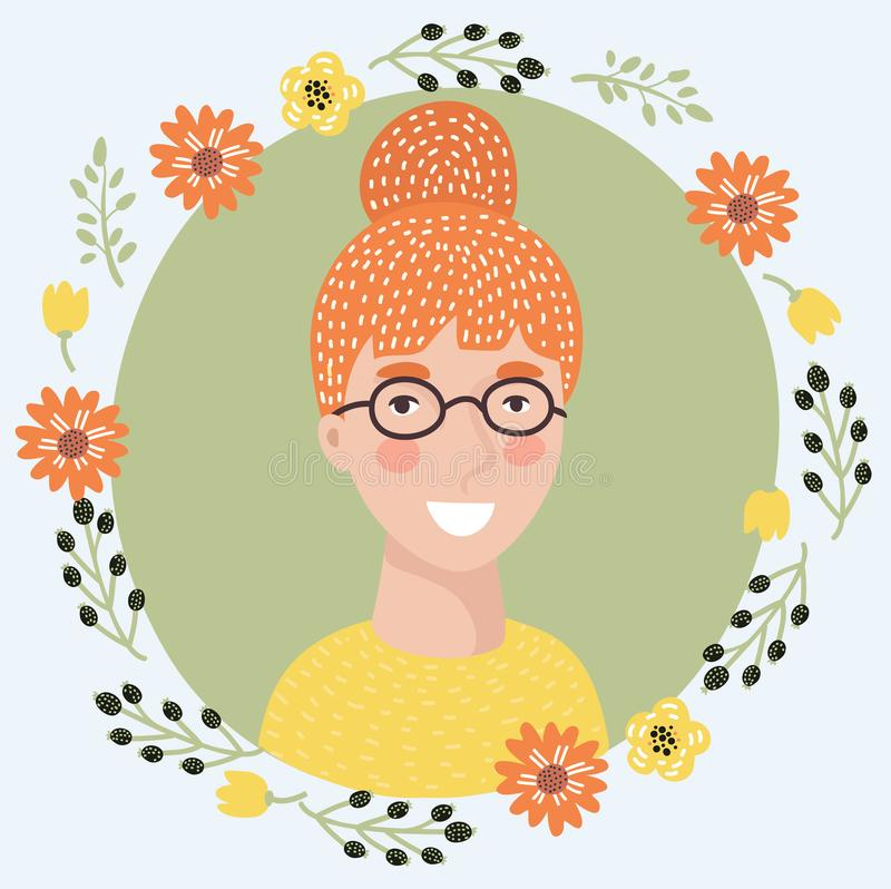 Young woman skeptic face icon. Redhead girl with flush and blue eyes suspicious facial expression isolated flat vector. royalty free illustration