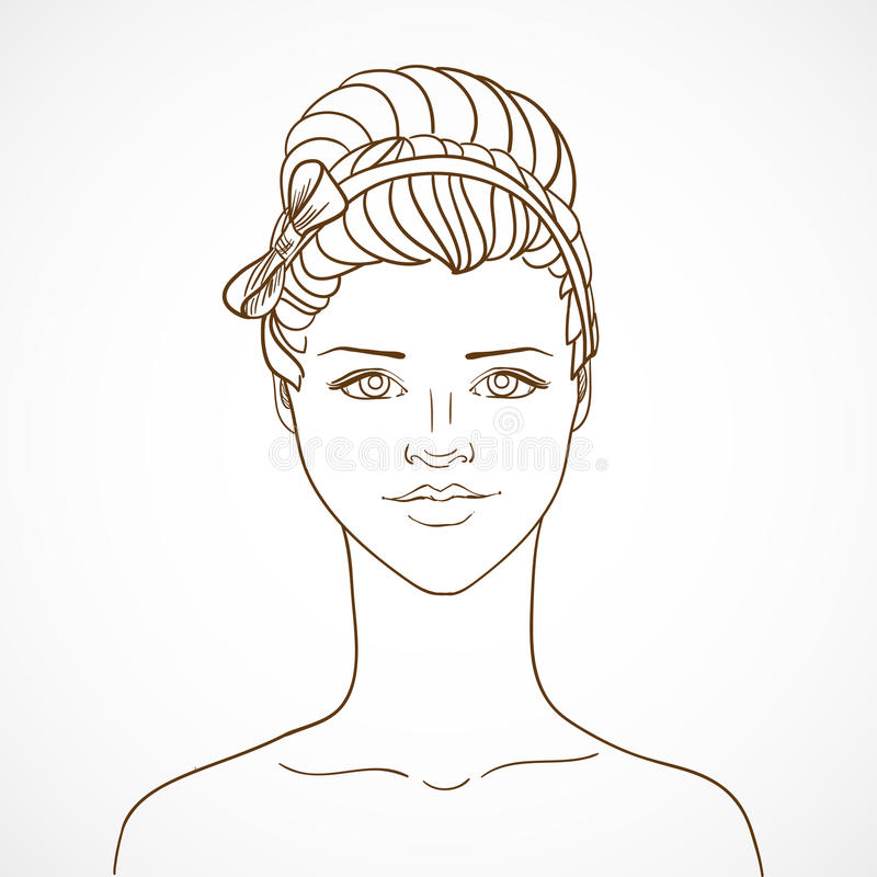 With young woman in sketch style. Vector illustration/EPS 10 vector illustration
