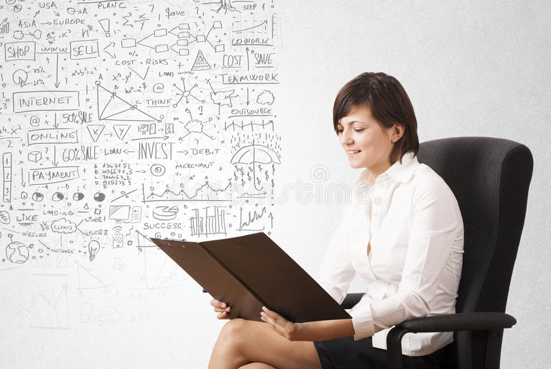Young woman sketching and calculating thoughts vector illustration