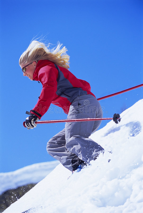 Download Young woman skiing stock image. Image of adult, sportswear - 6077239