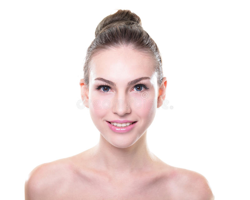 Young woman skin care face. Close up portrait of beautiful young woman face. Isolated on white background. Skin care or spa concept stock images