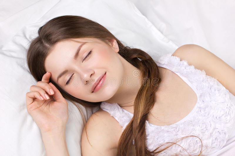 Download Young woman sleeping stock image. Image of dream, indoors - 28549845