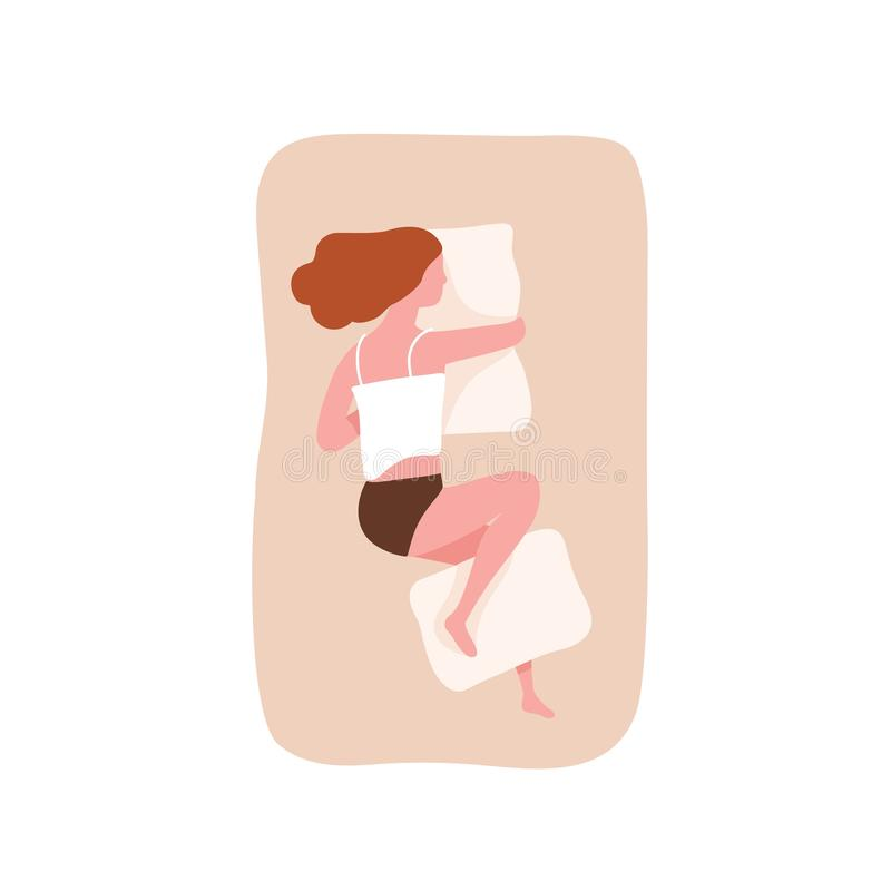 Young woman sleeping on her side and hugging pillow. Cute funny girl falling asleep on comfortable bed. Night relaxation vector illustration