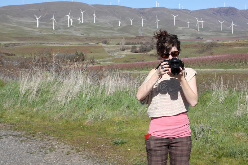 Download Woman with camera stock photo. Image of site, brunette - 30167158