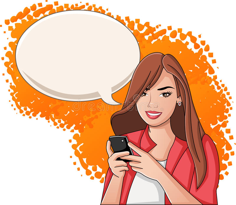 Young woman with smart phone. stock illustration