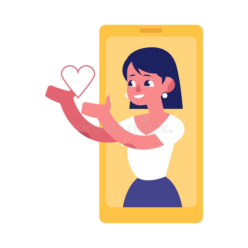 Young woman from smartphone screen sending heart isolated on white background. vector illustration