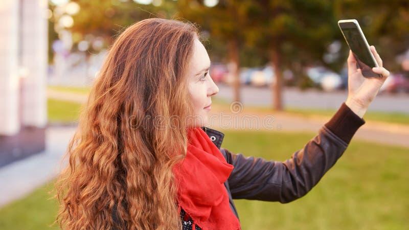 Young woman smile portrait. Self make photo stock image