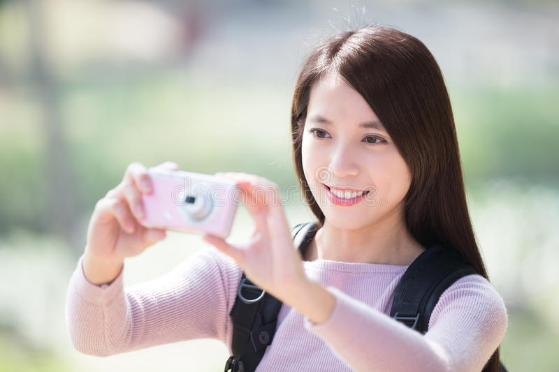 Young woman smile take selfie stock photography