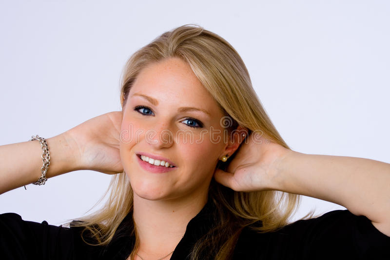 Download Young Woman Smiles At Camera. Stock Image - Image: 14858581