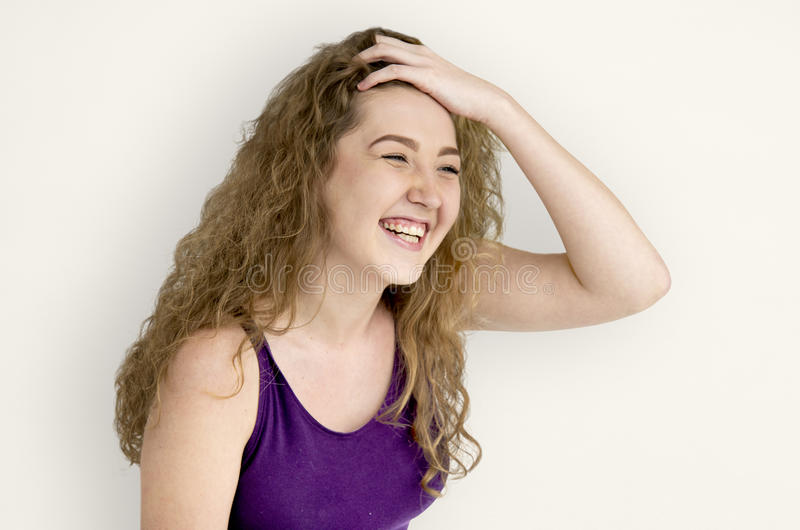 Young Woman Smiling Cheerful Concept royalty free stock image