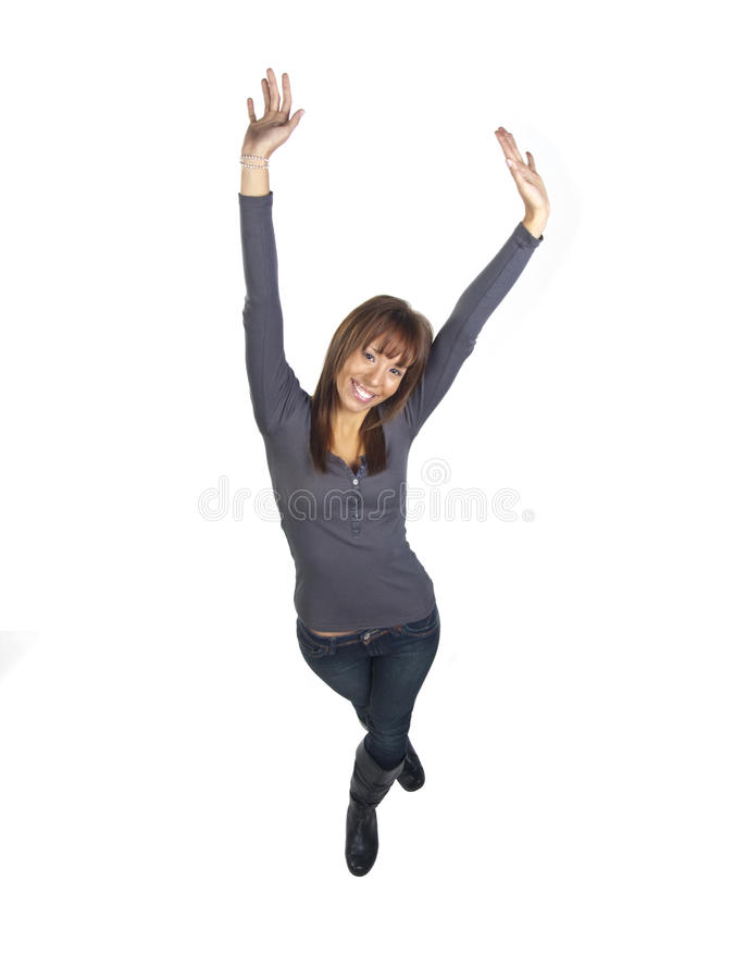 Young Woman Smiling With Hands In The Air Royalty Free Stock Photography