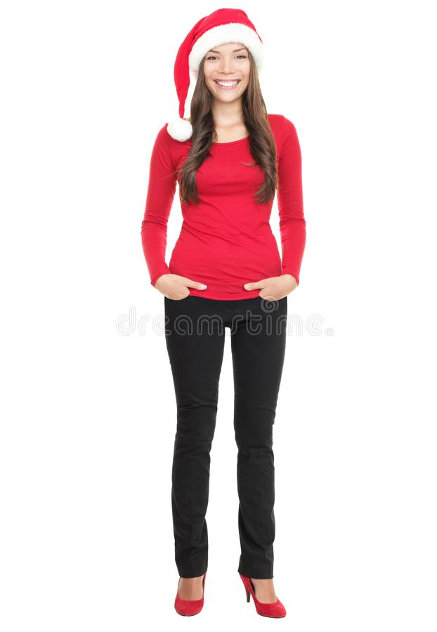 Young woman smiling with Santa hat stock photo