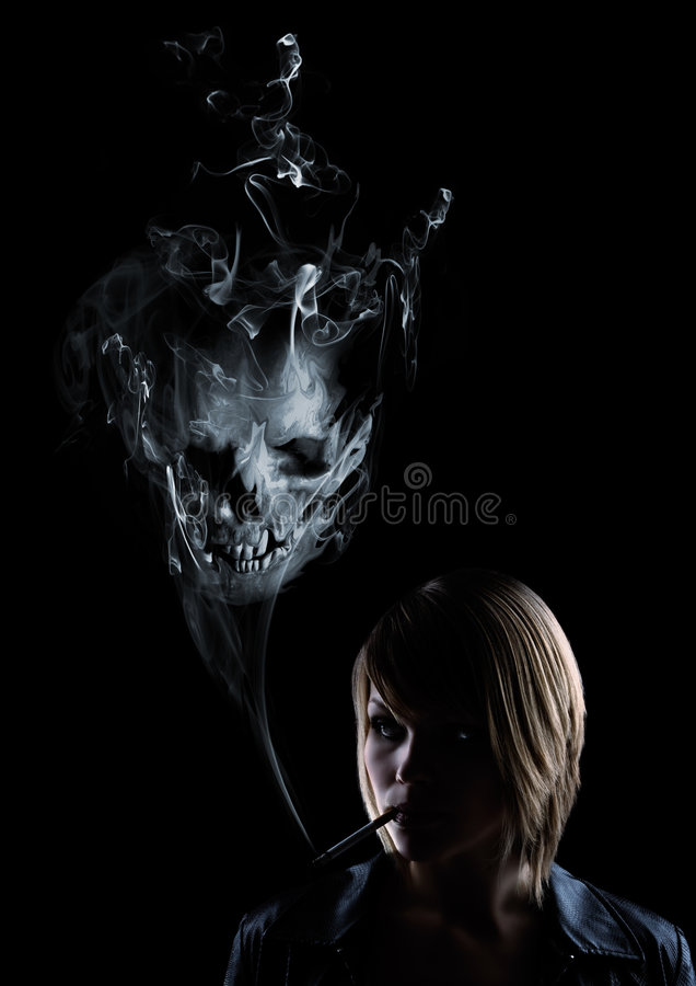 Young woman smokes, in the smoke appears a skull stock illustration