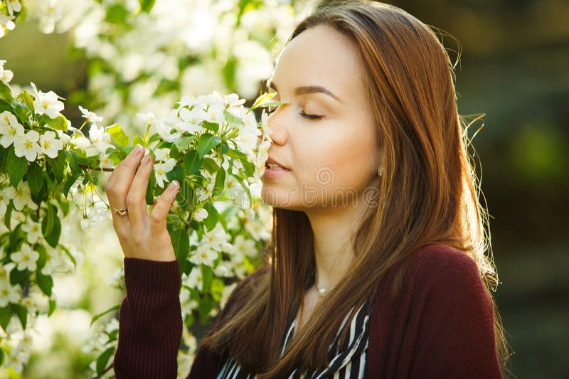 Young woman sniffs a blossoming tree. beautiful girl in spring park. stock photo
