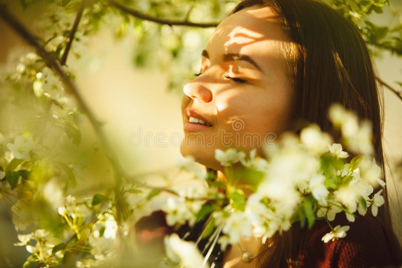 Young woman sniffs a blossoming tree. beautiful girl in spring park. royalty free stock image
