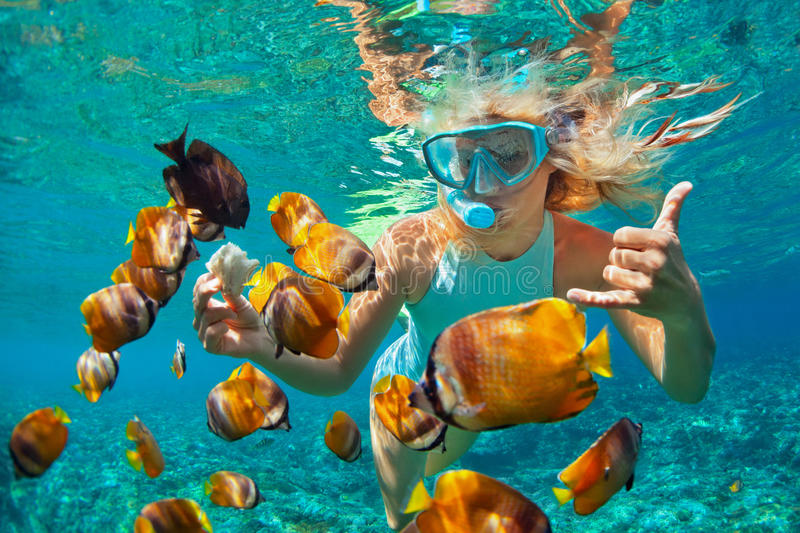 Young woman snorkeling with coral reef fishes stock photos
