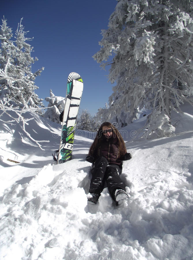 Download Young Woman With A Snowboard Stock Image - Image: 21350435