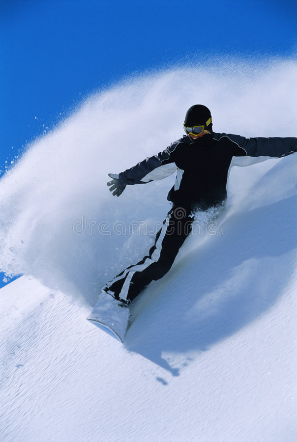 Free Young Woman Snowboarding Stock Image - 6077371
