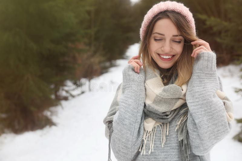 Young woman in snowy conifer forest, space for text. Winter. Vacation stock images