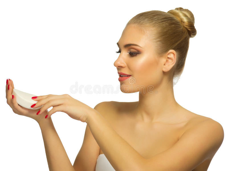 Young woman with soap stock image