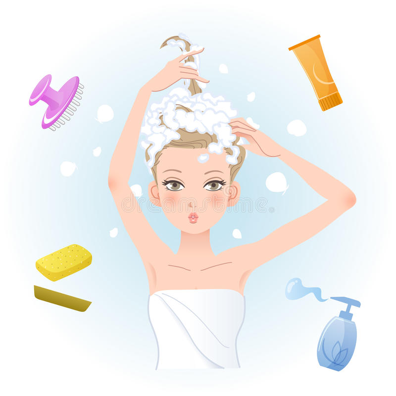 Young woman soaping her hair with body/hair care products royalty free illustration
