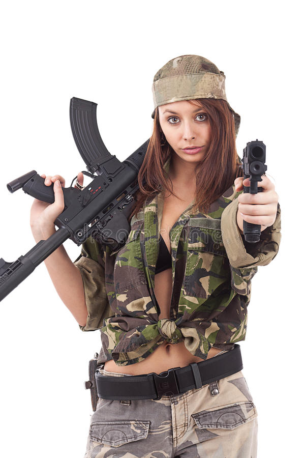 Young Woman Soldiers Royalty Free Stock Image