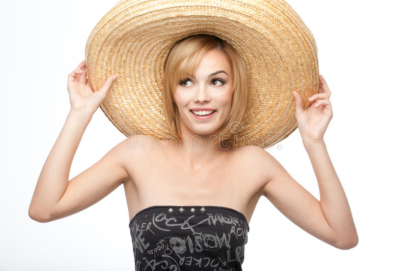 Download Young Woman With A Sombrero Hat Stock Image - Image: 16718121