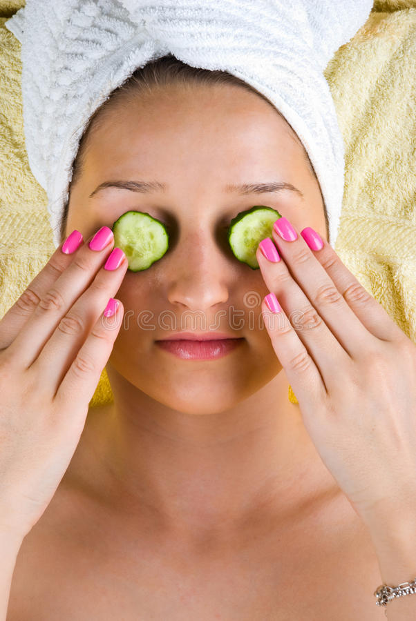 Young woman at spa center stock image