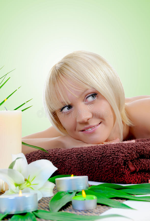 Young Woman At Spa Procedure Stock Photos