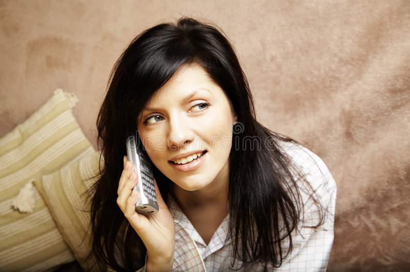Young woman is speaking stock image