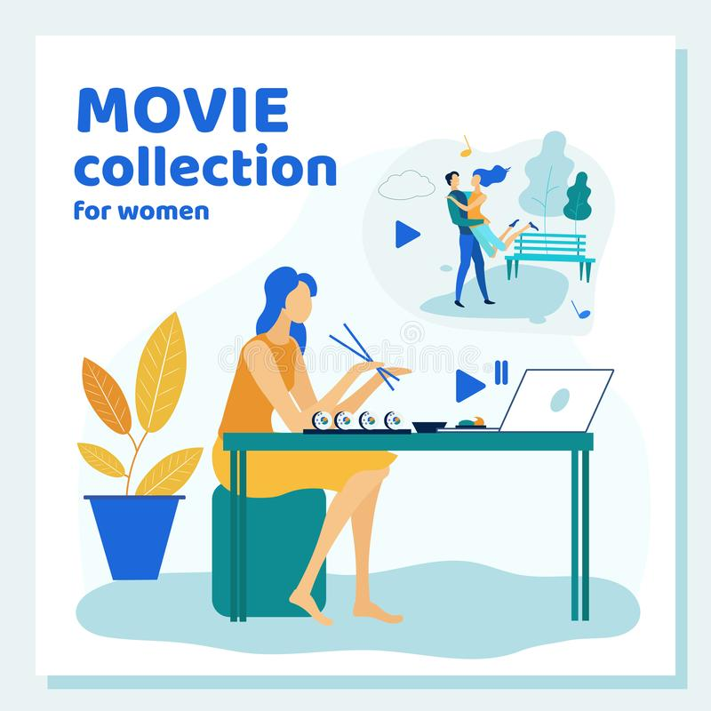 Young Woman Spend Time at Home Watching Movie. Collection on Laptop and Eating Sushi. Relaxed Evening, Spare Time, Vacation, Leisure, Girl Watch TV Series stock illustration