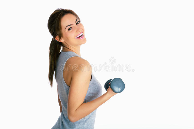 Young woman sporting stock photos