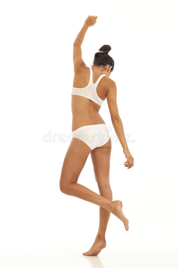 Young woman with sports bra and underwear royalty free stock photography