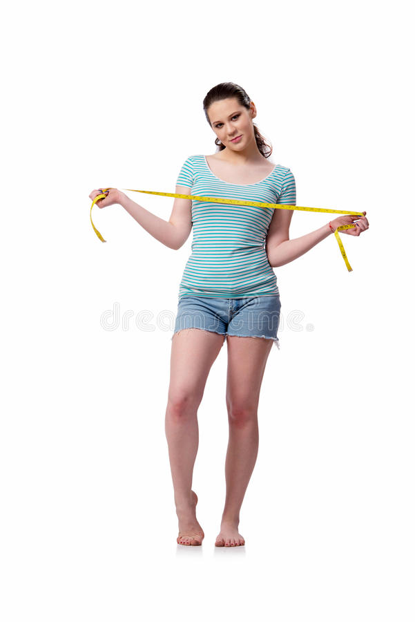 The young woman in sports concept isolated on the white stock photography