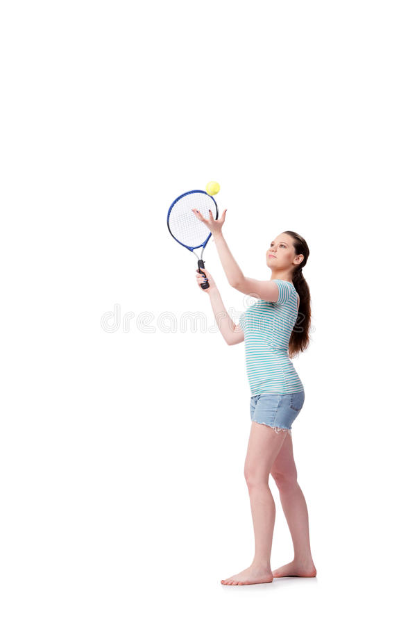 The young woman in sports concept isolated on the white stock images
