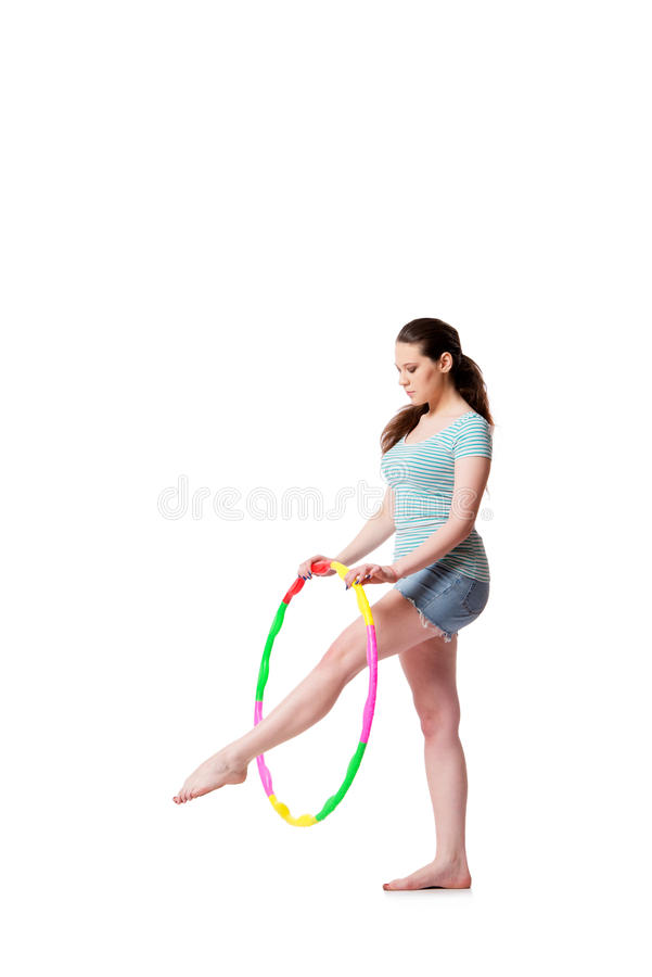 The young woman in sports concept isolated on the white royalty free stock photo
