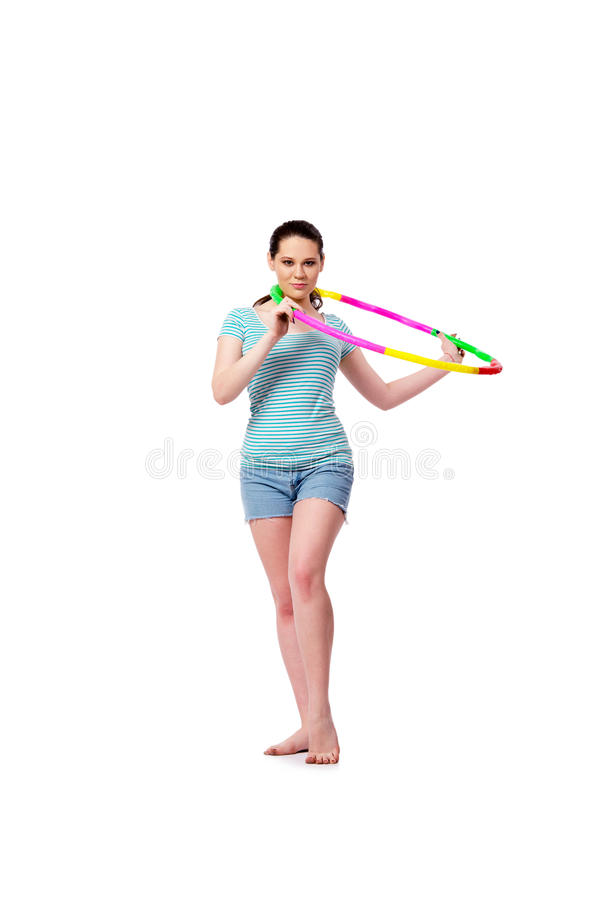 The young woman in sports concept isolated on the white royalty free stock images