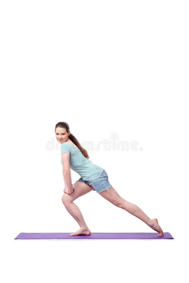 The young woman in sports concept isolated on the white royalty free stock image